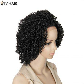 Siv Hair Medium Kinky Curly Dyeable Human Hair Lace Front Wig - NATURAL COLOR 18INCH