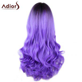 Adiors Long Centre Parting Ombre Wavy Synthetic Cosplay Lolita Wig - BLACK/PURPLE