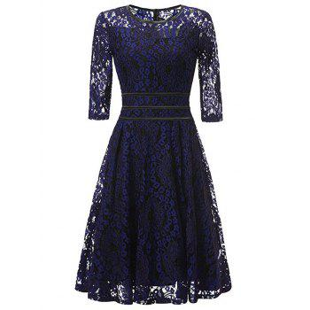 Floral Lace Knee Length Vintage Dress