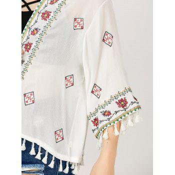 Floral Embroidered Tassel Open Front Kimono - WHITE ONE SIZE