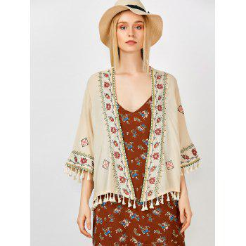 Floral Embroidered Tassel Open Front Kimono