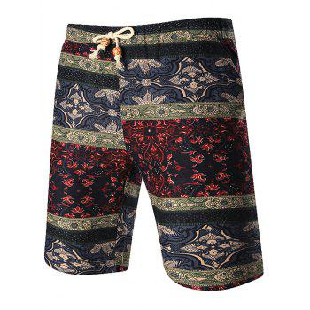 Tribal Print Drawstring Waist Shorts