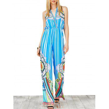 Striped High Waist Printed Halter Jumpsuit