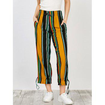High Waisted Drawstring Striped Wide Leg Pants