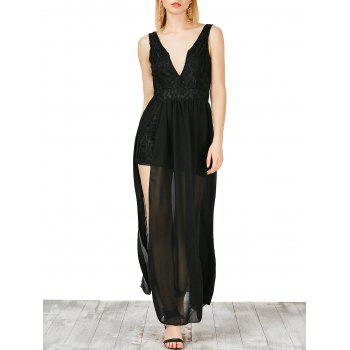 Lace Panel Overlay Plunging Neck Maxi Dress