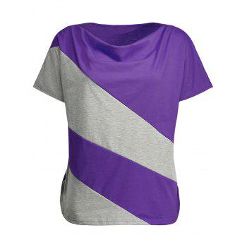 Cowl Neck Color Block Plus Size Top