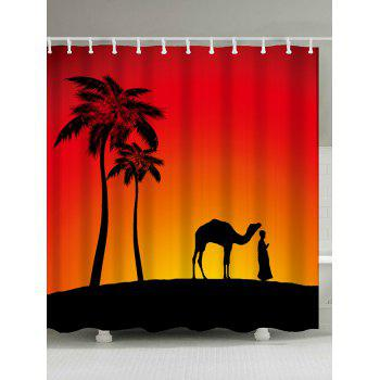 Camel Palm Tree Shadow Fabric Shower Curtain