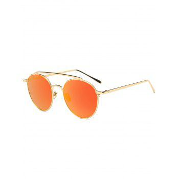 Mirrored Metal Crossbar Anti UV Sunglasses