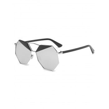 Metallic Crossbar Irregular Polygon Mirror Sunglasses