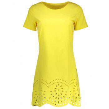Hollow Out Scalloped Casual Shift Dress