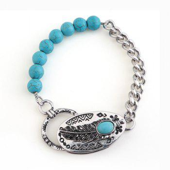 Artificial Turquoise Beads Engraved Feather Bracelet
