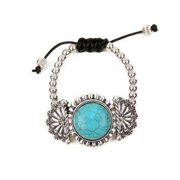 Retro Artificial Turquoise Flower Beaded Bracelet