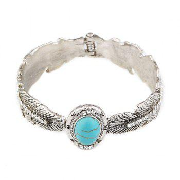Artificial Turquoise Alloy Feather Bracelet