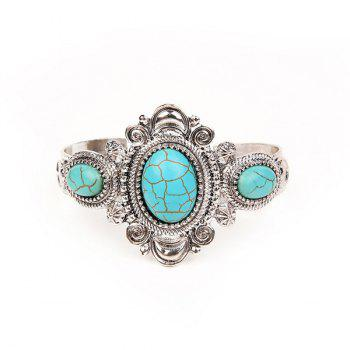 Vintage Artificial Turquoise Oval Cuff Bracelet