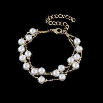 Artificial Pearl Layered Chain Bracelet