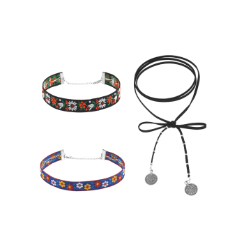 Flower Embroidery Choker Necklace Set