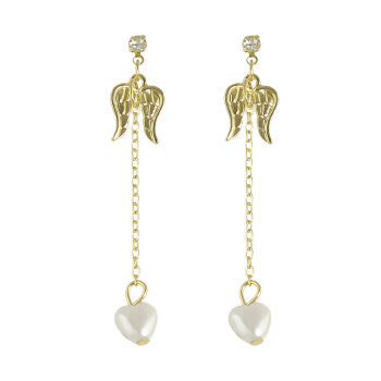 Faux Pearl Rhinestone Angel Wings Earrings