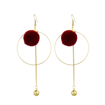 Circle Ball Bead Drop Earrings