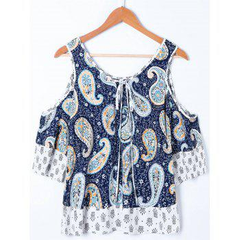 Cold Shoulder Tie Front Paisley Boho Blouse