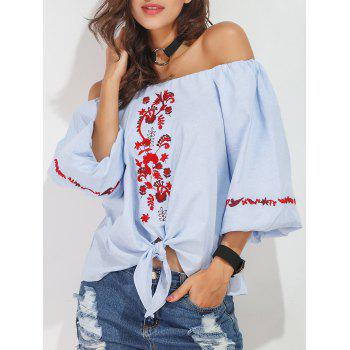 Flower Embroidered Off The Shoulder Blouse
