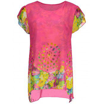 Floral Chiffon Plus Size Tunic Top