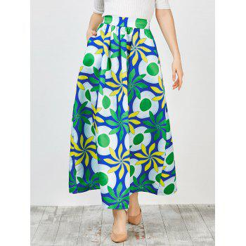 High Waist Printed Africa Skirt