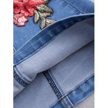 Button Up Floral Patched Jean Skirt - BLUE S