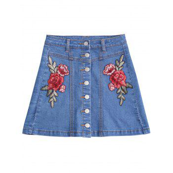 Button Up Floral Patched Jean Skirt