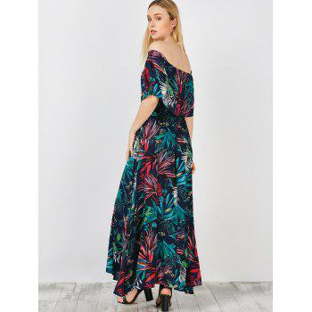Off The Shoulder Maxi Capelet dress - PURPLISH BLUE XL
