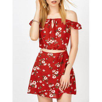 Off The Shoulder Floral Top and Skirt - RED L