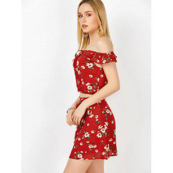 Off The Shoulder Floral Top and Skirt - RED RED