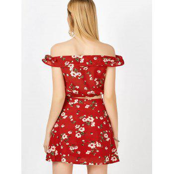 Off The Shoulder Floral Top and Skirt - RED S