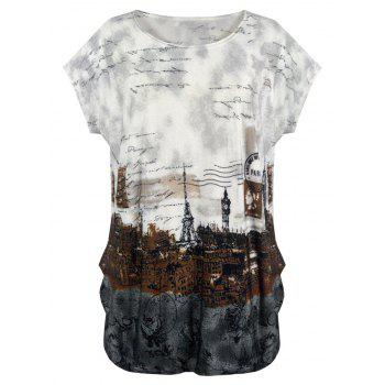 Loose Fit City Landscape Print T Shirt