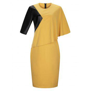 Plus Size Block Panel Cape Sleeve Pencil Dress
