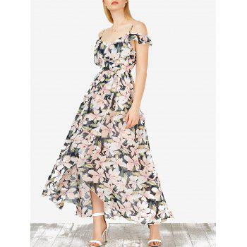 Floral Slit Maxi Cold Shoulder Bohemian Dress
