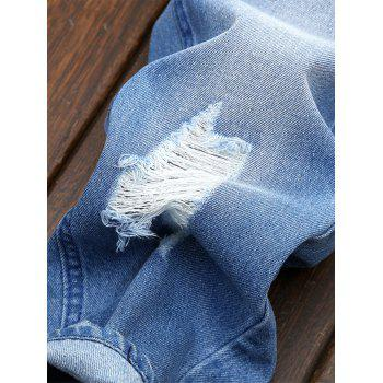 Ripped Zipper Fly Nine Minutes of Jeans - LIGHT BLUE 34
