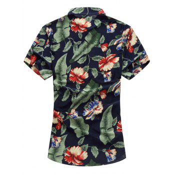 Stretchy Floral Short Sleeve Shirt - COLORMIX L