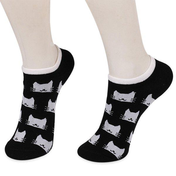 Cartoon Cats Ankle Socks - BLACK