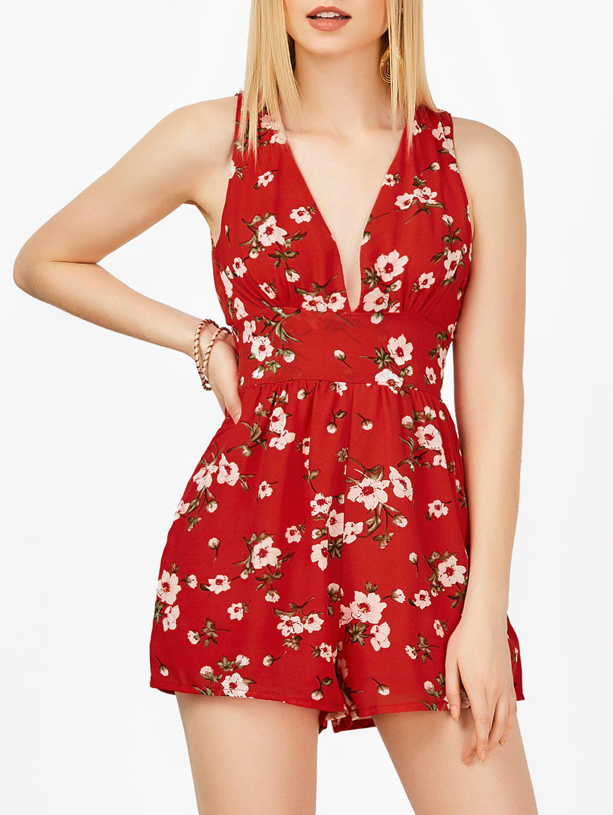Plongeant Neck Floral Romper manches Backless - Rouge S