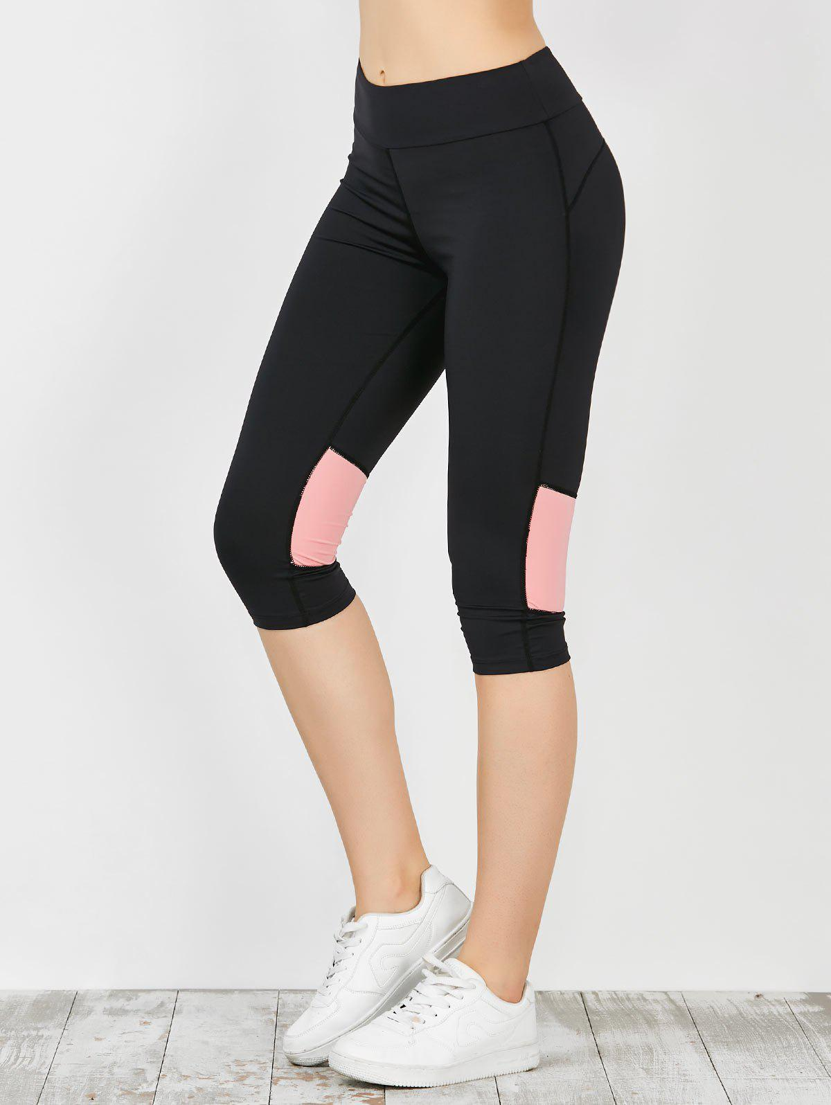 Two Tone Workout Capri Leggings - ROSE PÂLE L