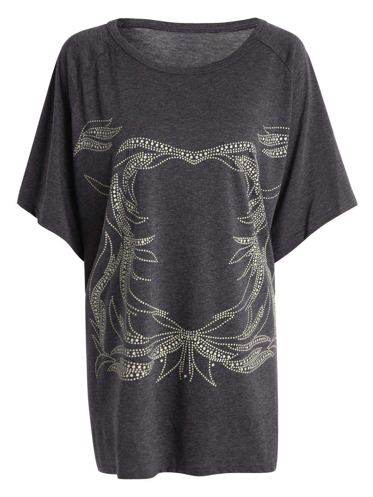Plus Size Tunique T-shirt graphique - Gris ONE SIZE