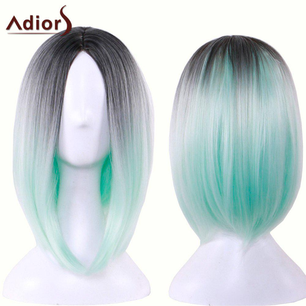 Adiors Medium Straight Middle Part Gradient Bob Cosplay Lolita Wig - BLACK/GREEN