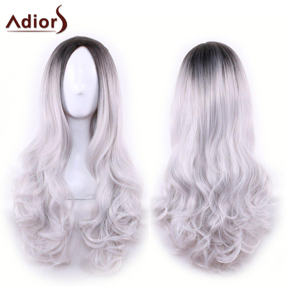 Adiors Centre Long Parting Ombre onduleux synthétique cosplay Lolita perruque - Gris Noir