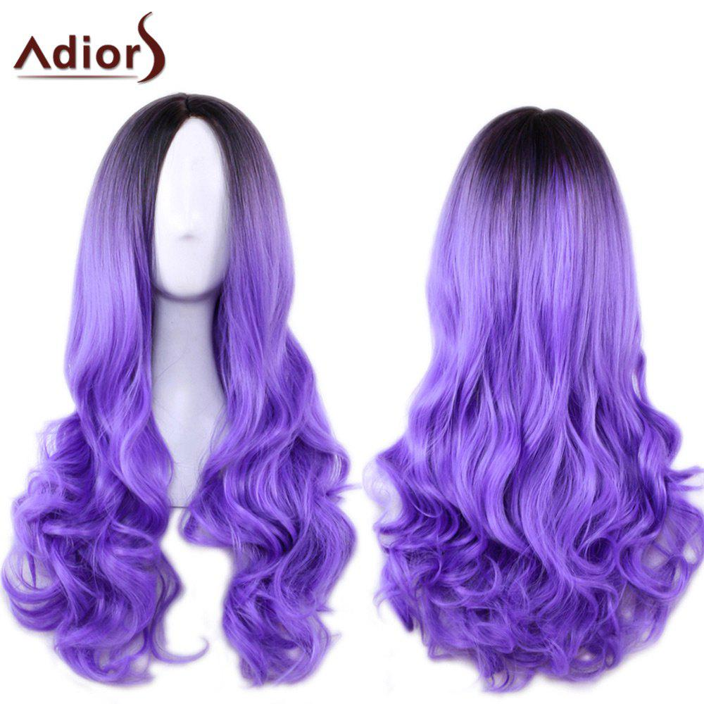 Adiors Long Centre Parting Ombre Wavy Synthetic Cosplay Lolita Wig fashion blue ombre purple centre parting fluffy long wavy synthetic adiors wig for women