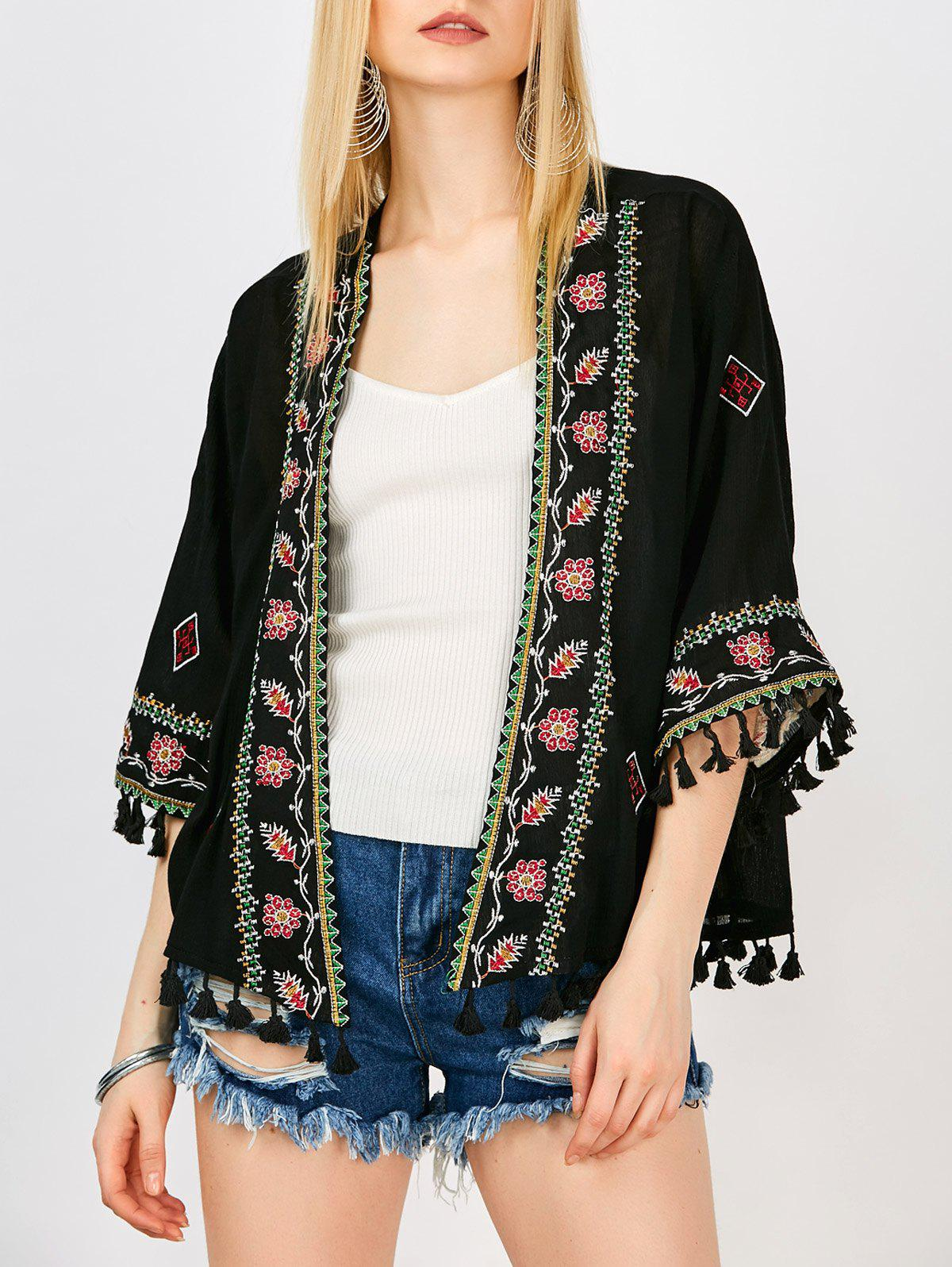 Floral embroidered tassel open front kimono black one