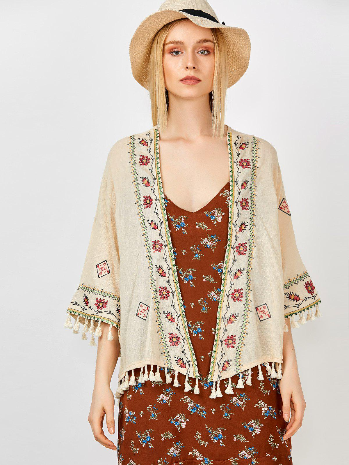 Floral Embroidered Tassel Open Front Kimono - APRICOT ONE SIZE