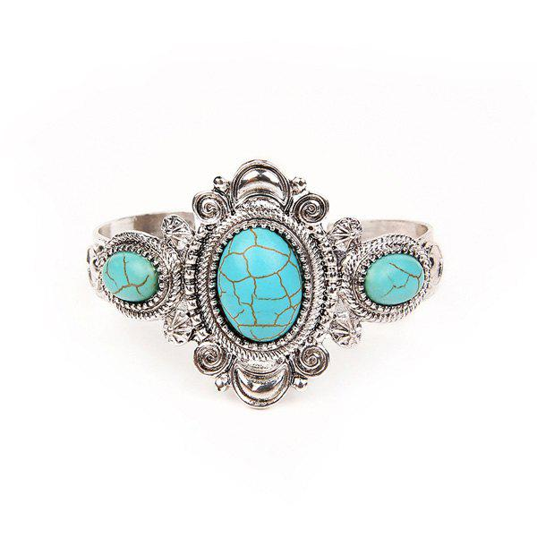 Vintage Artificial Turquoise Oval Cuff Bracelet artificial turquoise beads bohemian cuff bracelet