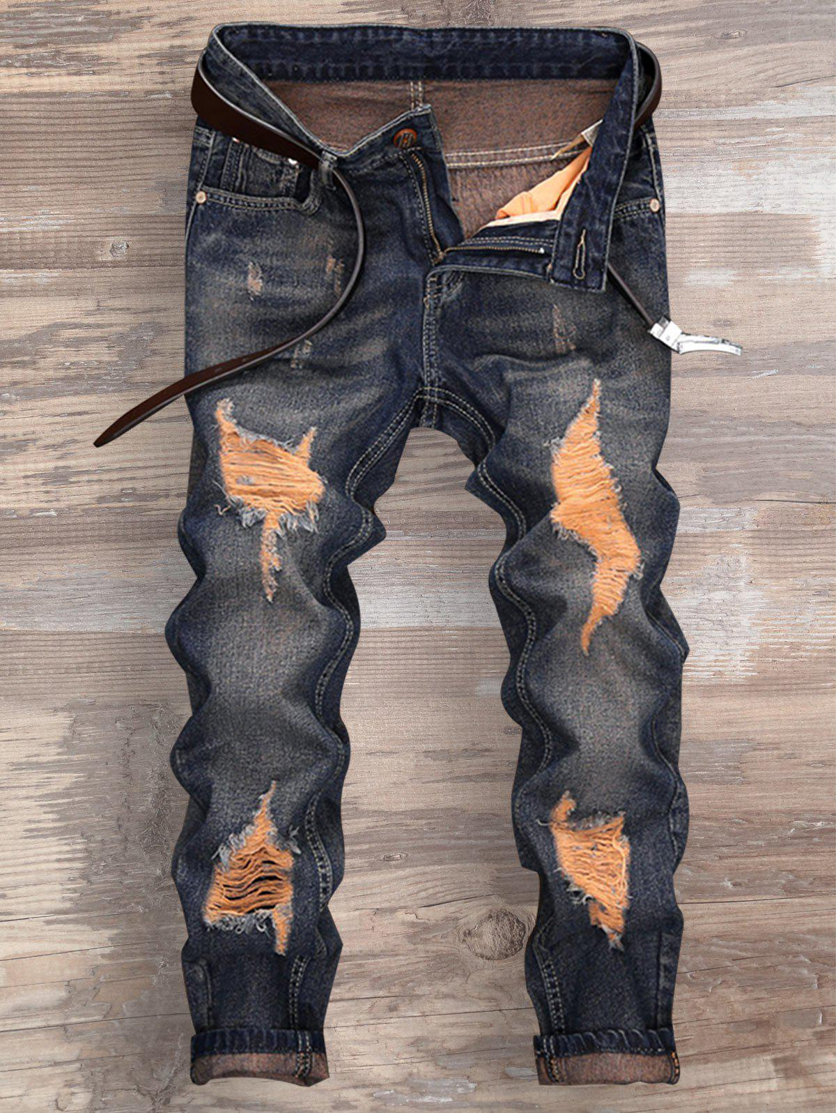 Ripped Cuffed Zipper Fly Jeans