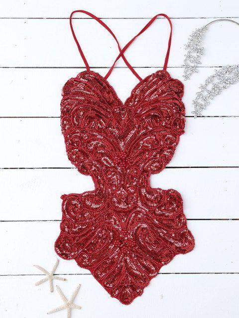 Sequins Cross Back Teddies - RED ONE SIZE
