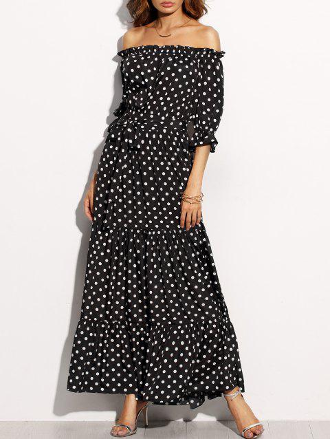 Off The Shoulder Polka Dot Belted Dress - BLACK M